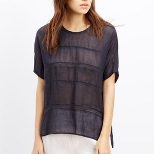 Vince. Sheer Ramie Lace Insert Top